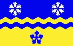 Flagga av prinsen George i British Columbia, Kanada royaltyfri fotografi
