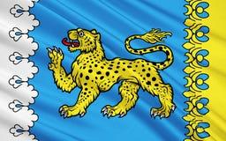 Flagga av Pskov Oblast, rysk federation Vektor Illustrationer