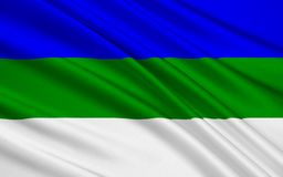 Flagga av republiken av Komi, rysk federation vektor illustrationer