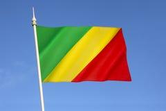 Flagga av Republiken Kongo Arkivfoto