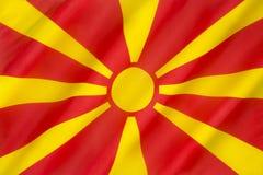 Flagga av Republiken Makedonien Arkivbild