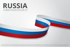 Flagga av Ryssland bakgrund Ryskt band Design för kortorientering också vektor för coreldrawillustration royaltyfria foton