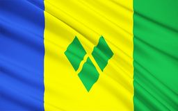 Flagga av Saint Vincent och Grenadinerna, Kingstown stock illustrationer