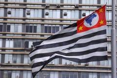 Flagga av Sao Paulo, Brasilien Fotografering för Bildbyråer