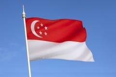 Flagga av Singapore - stadsstat Royaltyfria Bilder