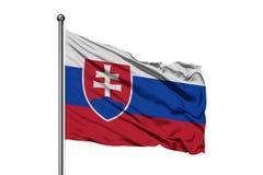 Flagga av Slovakien som vinkar i vinden, isolerad vit bakgrund Slovakisk flagga royaltyfria foton