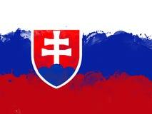 Flagga av Slovakien vid vattenfärgmålarfärgborsten, grungestil Royaltyfri Bild