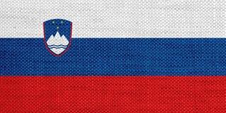 Flagga av Slovenien på gammal linne Arkivbilder