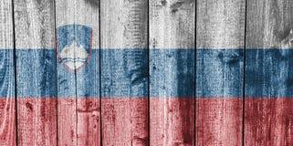 Flagga av Slovenien på ridit ut trä Royaltyfria Foton