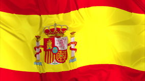 Flagga av Spanien att vinka stock video