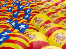 Flagga av Spanien och Catalonia på paraplyet Stock Illustrationer