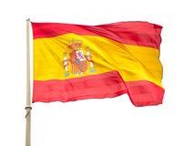 Flagga av Spanien som vinkar på en vit bakgrund royaltyfri foto
