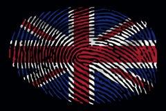 Flagga av Storbritannien i form av ett fingeravtryck på en svart bakgrund royaltyfri illustrationer