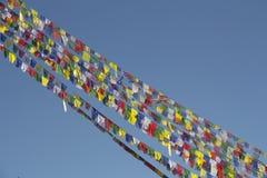 Flagga av Stupa av den buddistiska templet i Nepal Arkivfoto