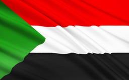 Flagga av Sudan, Khartoum royaltyfri illustrationer