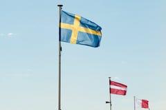 Flagga av Sverige mot en djupblå himmel Arkivfoto