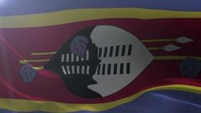 Flagga av Swaziland som vinkar på flaggstången i vinden, nationellt symbol av frihet stock illustrationer