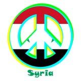 Flagga av Syrien som ett tecken av pacifism stock illustrationer