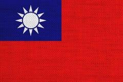 Flagga av Taiwan på gammal linne Arkivfoto