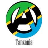 Flagga av Tanzania av världen i form av ett tecken av anarki stock illustrationer