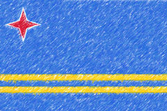 Flagga av textur för Aruba bakgrundsnolla, färgblyertspennaeffekt Arkivbild