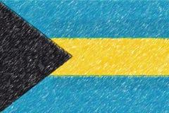 Flagga av textur för Bahamas bakgrundsnolla, färgblyertspennaeffekt Royaltyfri Fotografi