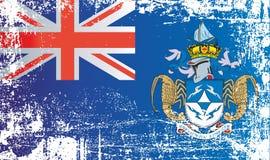 Flagga av Tristan da Cunha, brittiska utländska territorier Rynkiga smutsiga fläckar vektor illustrationer