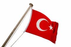 Flagga av Turkiet som fladdrar i vinden som isoleras arkivfoton