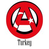 Flagga av Turkiet av världen i form av ett tecken av anarki stock illustrationer