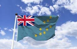 Flagga av Tuvalu, öar av skärgården arkivbilder