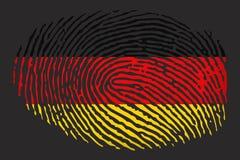 Flagga av Tyskland i form av ett fingeravtryck på en svart bakgrund vektor illustrationer