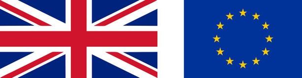 Flagga av UK och EU royaltyfri illustrationer