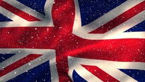 Flagga av UK och snön stock video