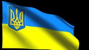 Flagga av Ukraina med statliga armar stock video