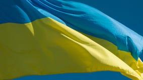 Flagga av Ukraina som fladdrar i vinden arkivfilmer
