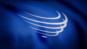 Flagga av UNASUR Flagga av union av söder - amerikanska nationer Emblem av bakgrund av ljust - blå färg, som är numret av royaltyfri illustrationer