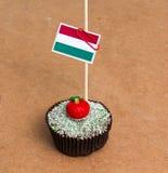 Flagga av Ungern på en muffin Fotografering för Bildbyråer