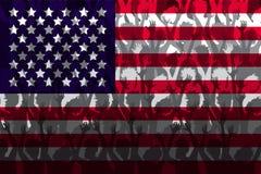 Flagga av USA över stöttande fans Arkivfoton