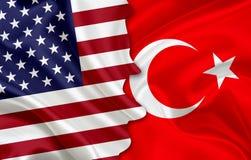 Flagga av USA och flagga av Turkiet Arkivbild