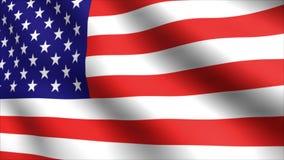 Flagga av USA som vinkar långsamt i vinden - sömlös ögla stock illustrationer