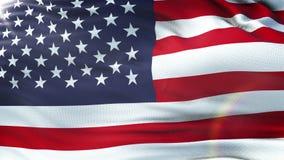 Flagga av USA som vinkar på solen Sömlös ögla med högt detaljerad tygtextur vektor illustrationer