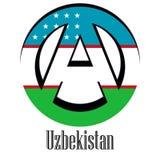 Flagga av Uzbekistan av världen i form av ett tecken av anarki stock illustrationer