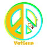 Flagga av Vatican City som ett tecken av pacifism stock illustrationer