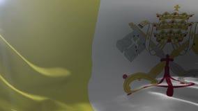 Flagga av Vatican City som vinkar på flaggstången i vinden, nationellt symbol av frihet stock illustrationer