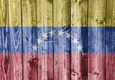 Flagga av Venezuela på ridit ut trä Royaltyfri Bild