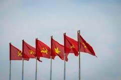 Flagga av Vietnam och kommunisten Arkivfoto