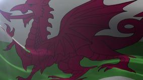 Flagga av Wales som vinkar på flaggstången i vinden, nationellt symbol av frihet vektor illustrationer