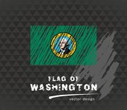 Flagga av Washington, vektorkritaillustration på svart bakgrund vektor illustrationer