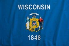 Flagga av Wisconsin, USA vinka arkivbild