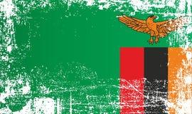 Flagga av Zambia, Afrika Rynkiga smutsiga fläckar royaltyfri illustrationer